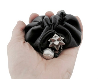 Black Leather Dice Bag, Magic The Gathering Lotus Dice Pouch, MTG, TCG, D&D Dice Bag, Dungeons And Dragons