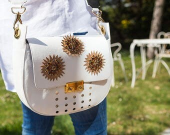 White Messenger Crystal flowers-handcrafted leather handbag and customizable