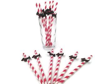 Scottie Dog party straws black red white-dog theme party,Scottish Terrier,red white retro stripe straws
