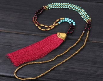 4mm crystgal beads New stylish design red tassel metal sweater beaded necklace