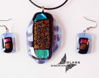 Fused glass jewelry set of earrings and pendant October