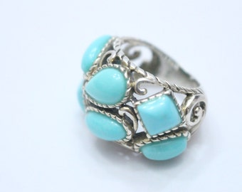Turquoise Cluster 925 Sterling Silver Ring Size 6