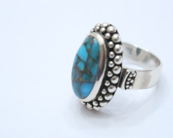 Oval Turquoise 925 Sterling Silver Ring Size 7