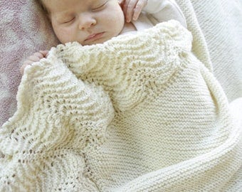 Baby Merino blanket in cream-white