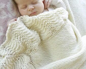 Baby Merino blanket in cream white
