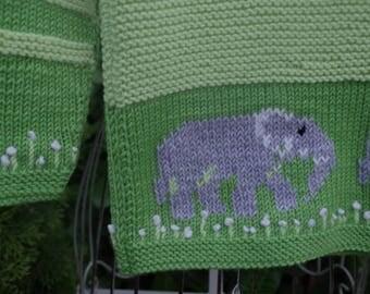 Beautiful Merino sweater with elephant motif