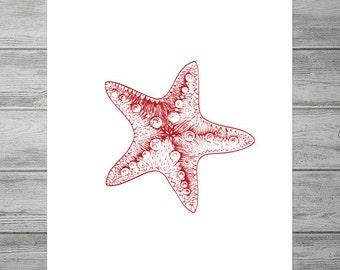 Printable Starfish Decor, Beach Bathroom Decor, Nautical Bathroom Digital Print, Print Beach Ocean, Nautical Wall Decor, Nautical Wall Art