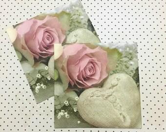 Vintage Romantic Pink Rose Paper Napkins for Decoupage