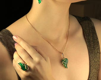 green onyx , gold 585 , natural stone , set , earrings and ring ,