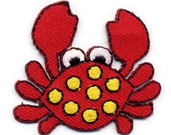 Embroidered Iron-On Applique Crab, 1+1/2 inch