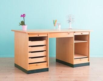 50's desk, roller shutter file cabinet vintage (412007)