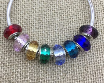 Multi color european 96 faceted glass charm with silver plated brass whole core 4.5mm whole core faceted charm bead