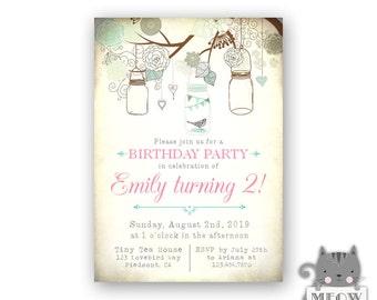 Second Birthday Invitation - Little Bird Birthday - Mason Jar Invitation 2nd Birthday Invitations - 45a