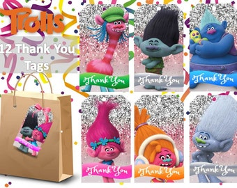 12 Trolls Thank You Tags Printable, Trolls Party, Intsant Download, Children Party, Printable Thank You Tags