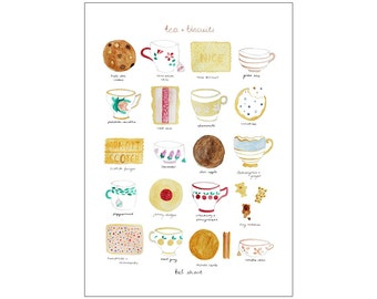 Tea & Biscuits print, various sizes