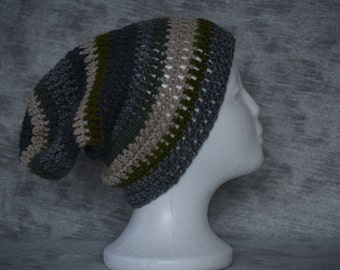 Striped crocheted slouchy beanie hat (gray, tan, green, charcoal)