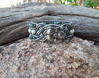 Leather Wrap Bracelet with Opalescent Green Czech Beads and Fancy Jasper Beads