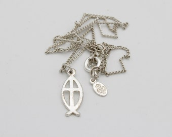Silver Ichthus Fish/Cross Necklace