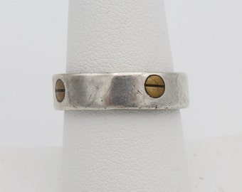 Industrial Style Brass and Sterling Silver Band