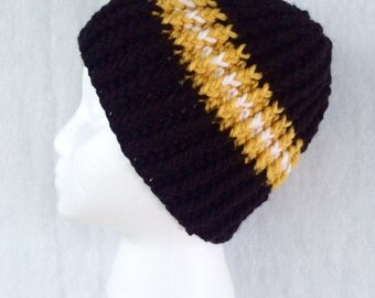 Adult Winter Hat - Youth Winter Hat - Adult Crochet Hat - Crochet Winter Hat - Hockey Team Hat -