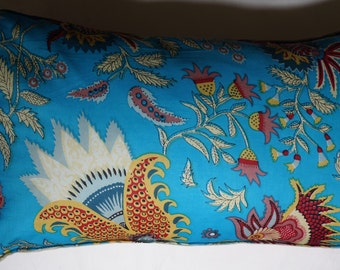 Spring series 2: cushion, 30 x 50 or 12 x 20 blue cotton, Indian floral motifs, linen.