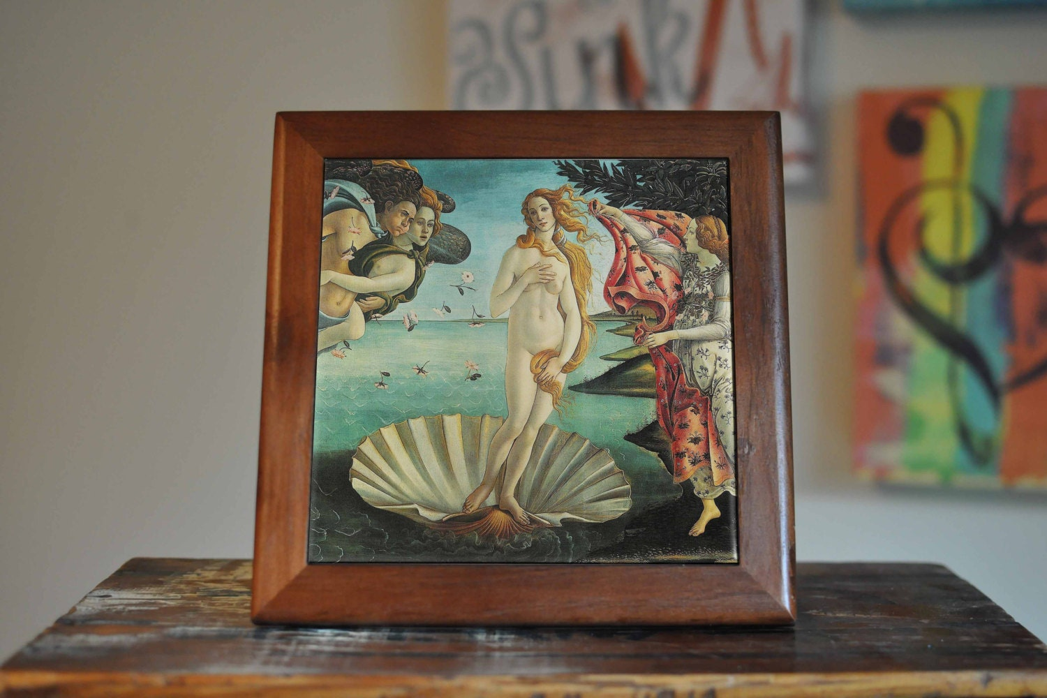 Botticelli venus ceramic tile coaster set artwork trivet hot plate botticelli venus ceramic tile coaster set artwork trivet hot plate pot stand plant splashback kitchen decor dailygadgetfo Gallery