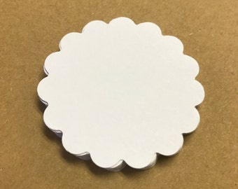 White Scalloped Circle - 50 pieces - Scrapbooking - Die Cuts - Wedding Decor - Wedding Favor - Gift Tags - White Party - White Baby Shower