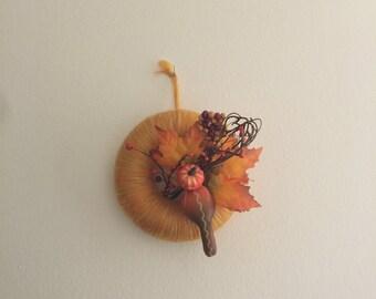 """7 """" Pumpkin and Autumn Leaves Wreath"""