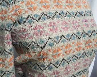 Long Sleeve Fair Isle Jumper handknit from a 1940s pattern