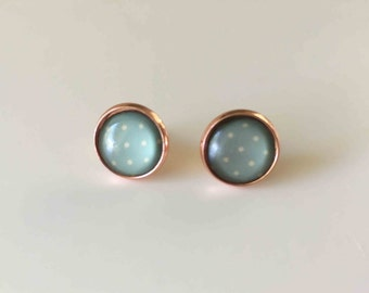 Glass Cabochon Earrings, Duck Egg blue with cream spot in rose gold plated stud back earrings