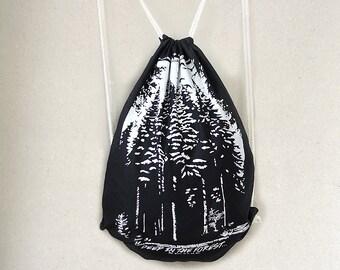hand-printed urnbeutel pine forest