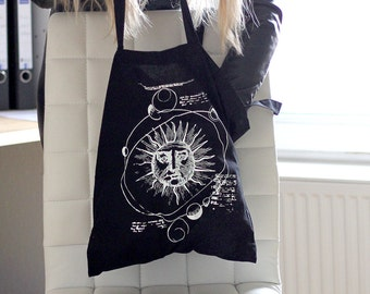hand printed jute bags solar system occult