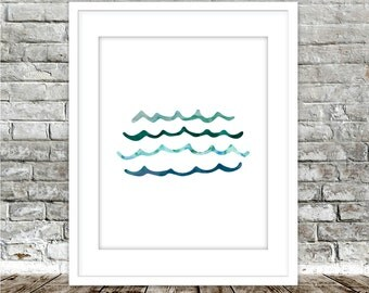 MINIMALIST WAVES Art Instant Printable, Abstract Watercolor Painting Art, Modern Blue Abstract Minimalist Art Print Instant Digital Download