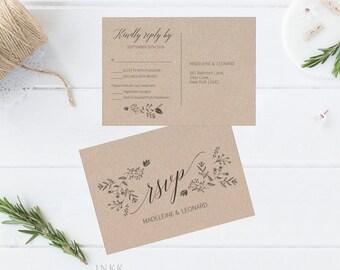 RSVP Postcard, RSVP template, Wedding rsvp, rsvp Postcard, wedding rsvp cards, rsvp printable, Response Card, PDF Instant Download #E008