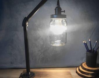 Mason Jar Lamp, Mason Jar Lantern, Rustic Desk Lamp, Rustic Lighting, Vintage Lamp, Industrial Lighting, Table Lamp, Pipe Lamp, Rustic Light