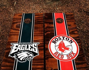 Divided House (choice of any 2 teams/theme) Cornhole Set With Bags