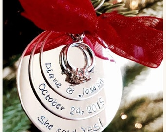 Personalized engagement ornament couples first Christmas she said yes engagement ring engagement gift date of engagement custom