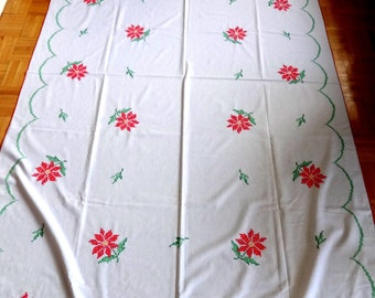 "HUGE Christmas Tablecloth // 57"" X 98"" // Embroidered poinsettias cross-stitch VTG// Midcentury Xmas Linen"