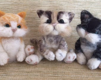 Furry Felted Kittens