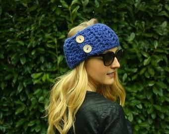 Women's Crochet Headwarmer, Cobalt Blue Crochet Headband, Ear Warmer, Neck Warmer, Double Button