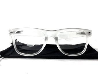 wayfarers glasses alui  Retro Transparent Frame Clear Lens Matte White Wayfarer Glasses