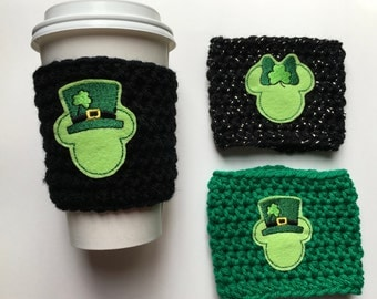 Shamrock Mr and Mrs Mouse/St Patrick's Day Mouse/Coffee Cozy/Coffee Sleeve