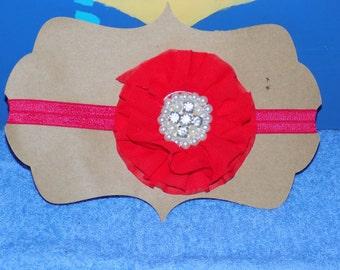 Red Jeweled Flower Headband