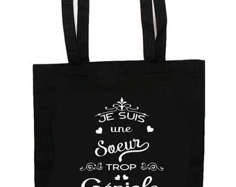 Gift sister - sister too funky - cotton tote bag - totebag - super
