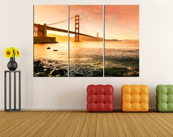Golden Gate Bridge Canvas print, San Francisco Skyline wall art, extra large wall art print canvas, gallery wrapped canvas, 3S73