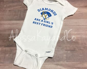 Kansas City Royals onesie - KC royals - baby girl onesie - baby shower - baseball onesie - diamonds are a girls best friend