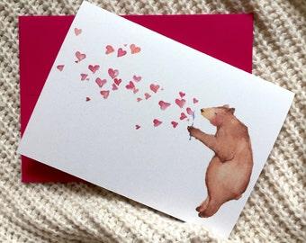 Watercolor Illustration Bear Valentine