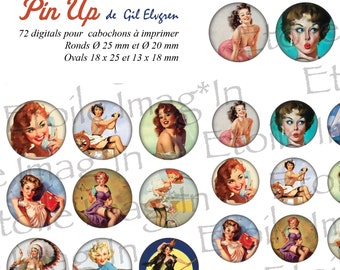 Board 72 digital * Gil Elvgren pinup * to print for cabochons