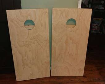 Unfinished cornhole boards, bean bag toss