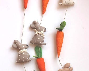Lovely Easter  bunnies and carrots door decor